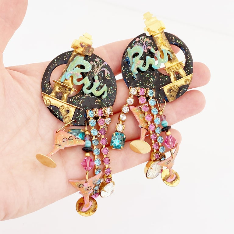 Women's Paris Themed Enamel Dangle Statement Earrings By Lunch At The Ritz, 1980s For Sale