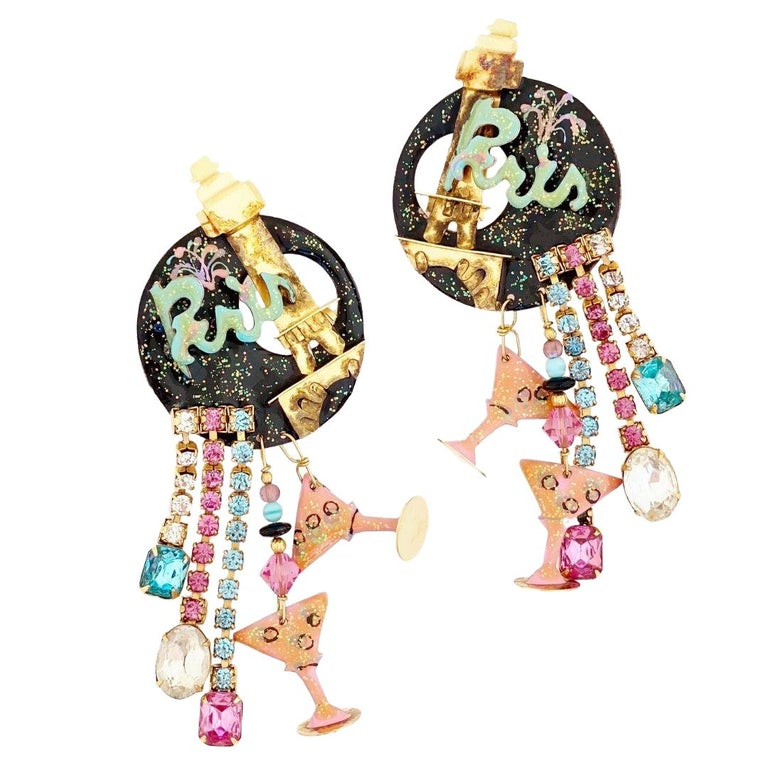 Paris Themed Enamel Dangle Statement Earrings By Lunch At The Ritz, 1980s For Sale