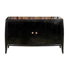 Parisian 1960s Black Lacquered Bow Front Two-Door Cabinet with Splaying Legs