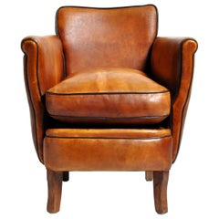 Parisian Brown Leather Armchair
