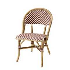Parisian Café Red Chair in Natural Rattan