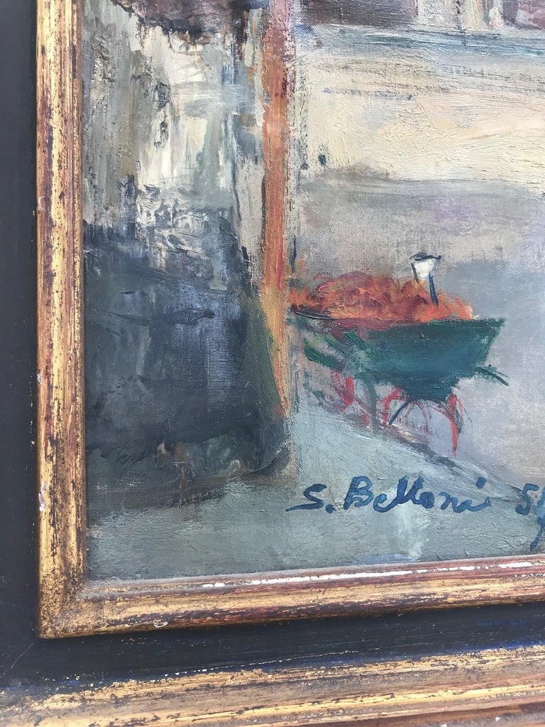 Parisian Cityscape, Signed and Framed Oil on Canvas by Serge Belloni For Sale 4