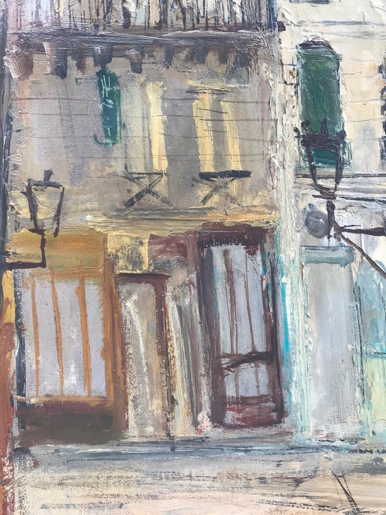 Mid-20th Century Parisian Cityscape, Signed and Framed Oil on Canvas by Serge Belloni For Sale