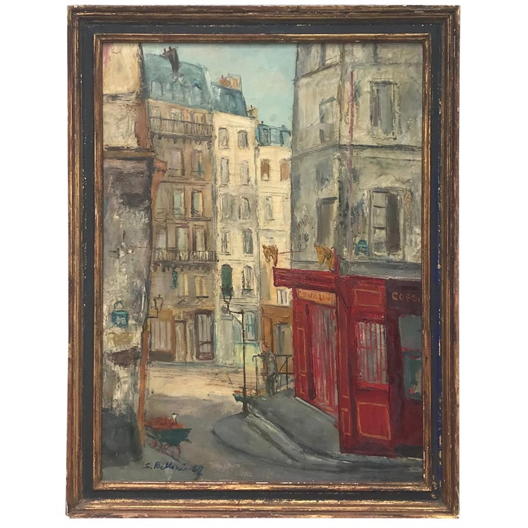 Parisian Cityscape, Signed and Framed Oil on Canvas by Serge Belloni For Sale