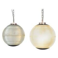 Parisian Holophane Globe Lights, circa 1950s
