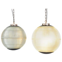 Parisian Holophane Globe Lights, circa 1950s