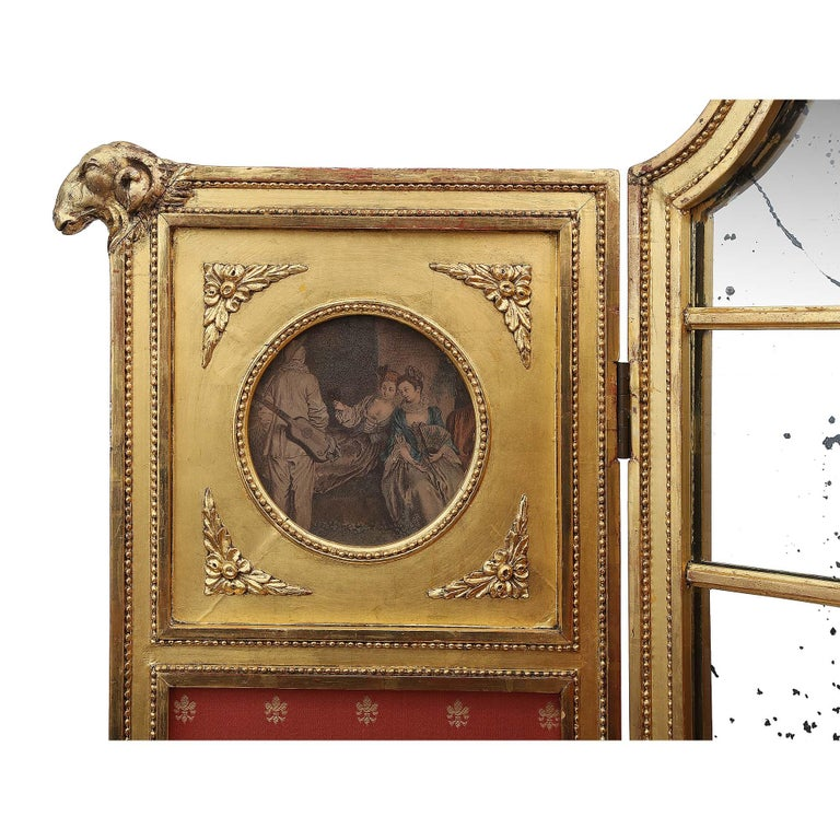 French Parisian Louis XVI Style Mid-19th Century Three Paneled Giltwood Screen For Sale