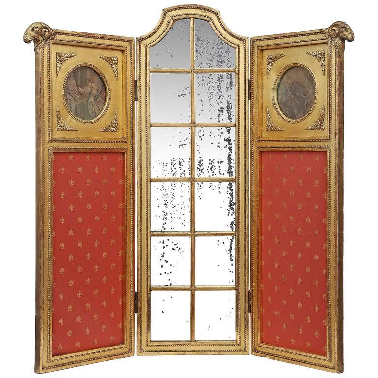 Parisian Louis XVI Style Mid-19th Century Three Paneled Giltwood Screen For Sale