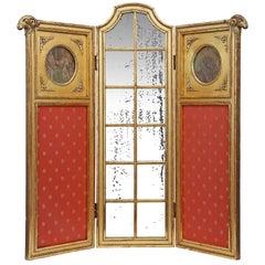 Parisian Louis XVI Style Mid-19th Century Three Paneled Giltwood Screen