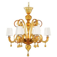 Italian Chandelier 6arms smooth Amber Murano Glass with Lampshades by Multiforme