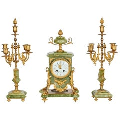 Parisienne Gilt Bronze and Onyx Mantle Clock, 19th Century