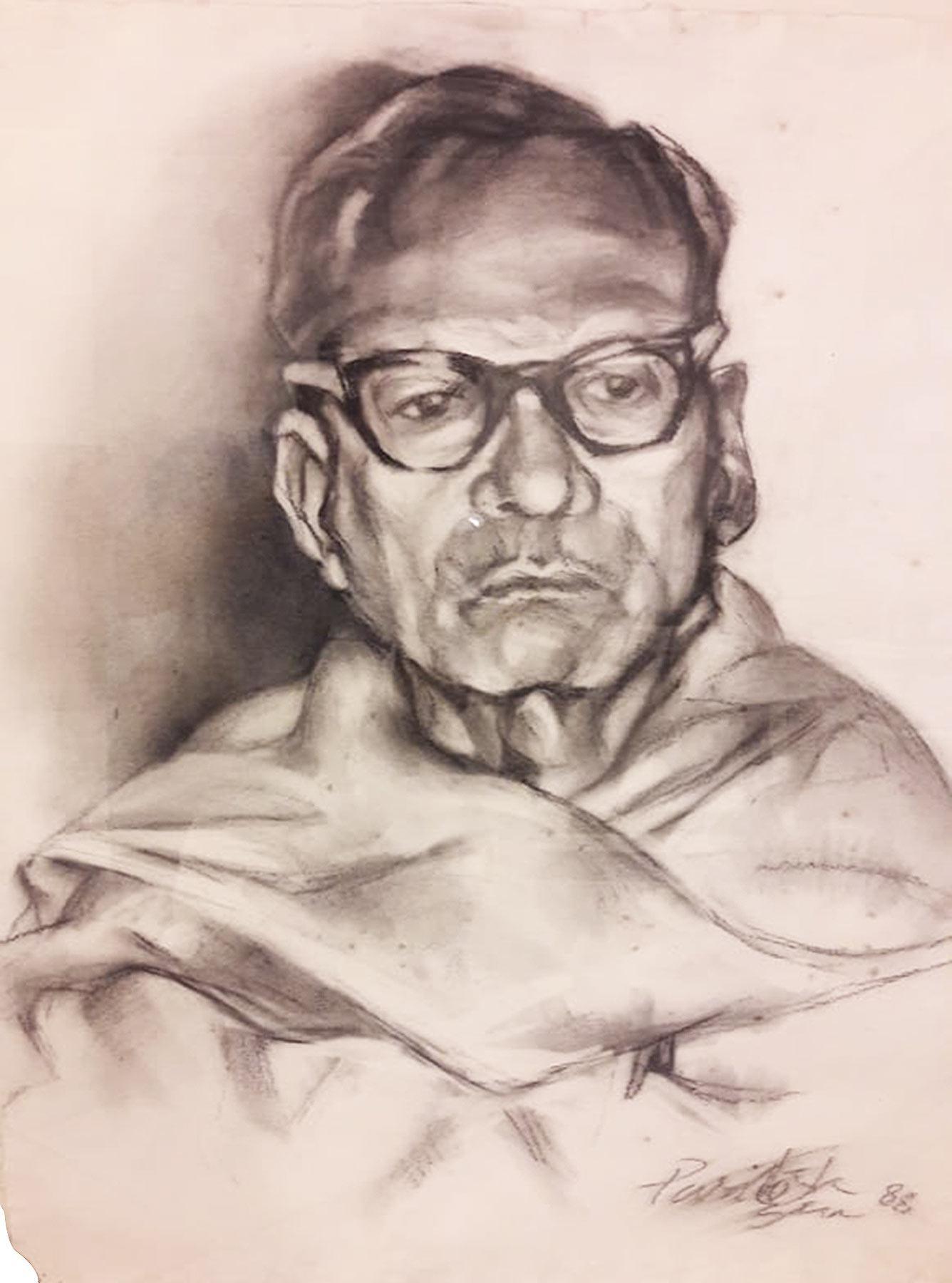 "Thinker Bengali Man Charcoal Paper, Black & White Paritosh Sen""In Stock"""
