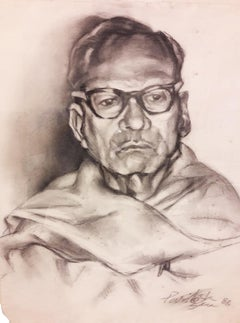 "Thinker Bengali Man Charcoal Paper, Black & White Paritosh Sen""In Stock"""