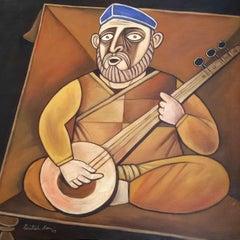 "Musician, VeenaBadak, Acrylic on Canvas, Brown, Yellow by Paritosh Sen""In Stock"""