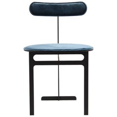 Park Place Chair by Yabu Pushelberg in Matte Black and Storm Blue Velvet