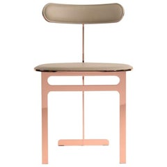 Park Place Chair by Yabu Pushelberg in Rose Copper and Pewter Leather