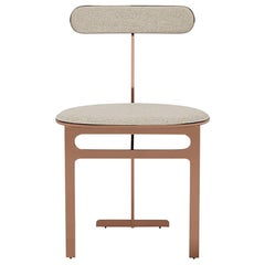 Park Place Dining Chair by Yabu Pushelberg in Rose Copper and Chenille