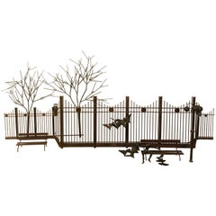Park Scene Mixed Metal Wall Sculpture by Curtis Jere