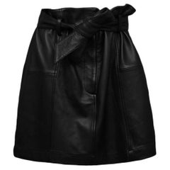 Parker Black Leather Skirt with Tie Belt sz L rt. $498