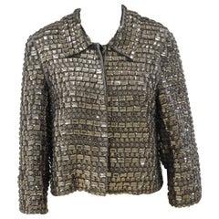 P.a.r.o.s.h grey silver silk studs jacket