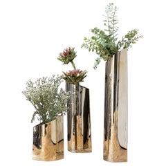 Parova Vases, Set of 3, Flamed Gold, by Zieta