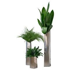 Parova Vases, Set of 3, Polished Stainless Steel, by Zieta