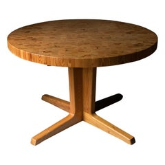 Parquet Wood Block Pine Dining Table, with Leaf, 1970s