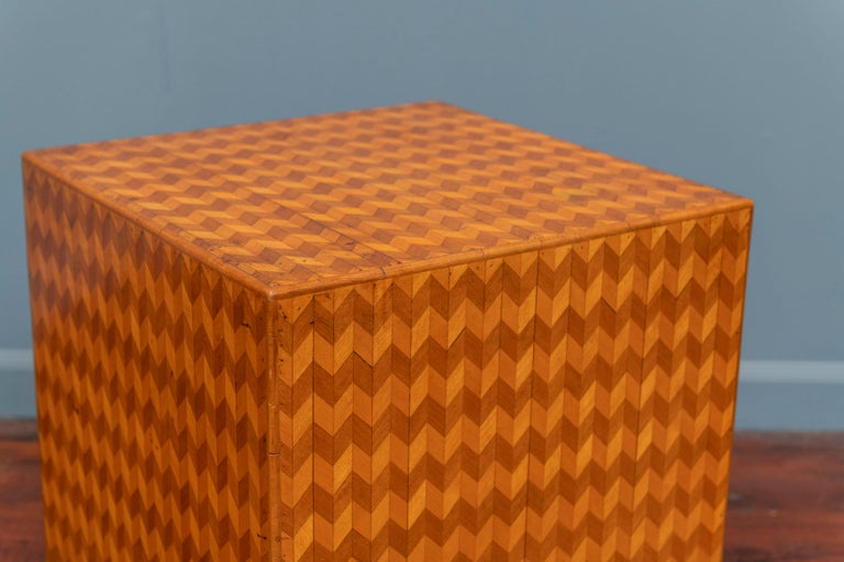 Parquetry cube form side table, Italy. In very good vintage condition with wear commensurate with use.