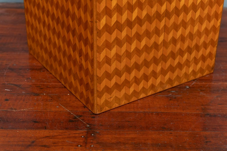 Mid-Century Modern Parquetry Cube Form Side Table For Sale