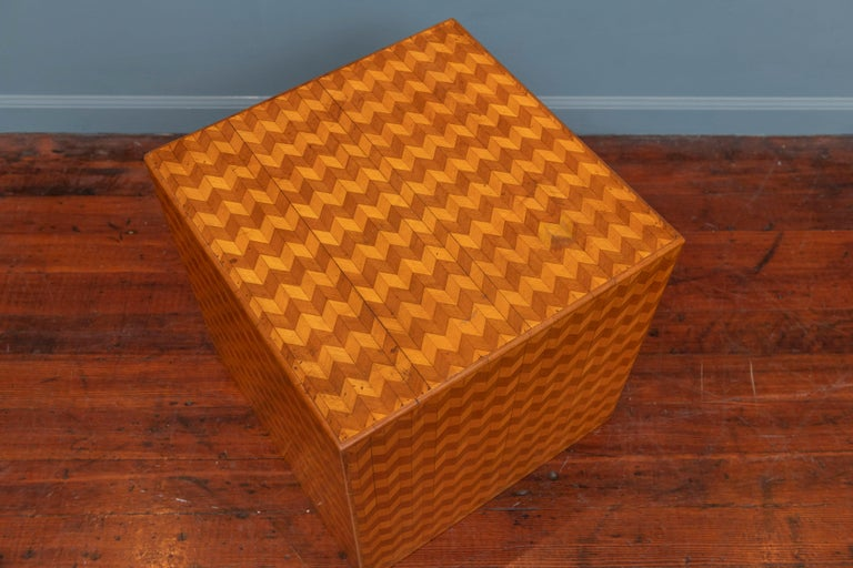 Italian Parquetry Cube Form Side Table For Sale