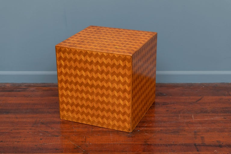 Parquetry Cube Form Side Table In Good Condition For Sale In San Francisco, CA