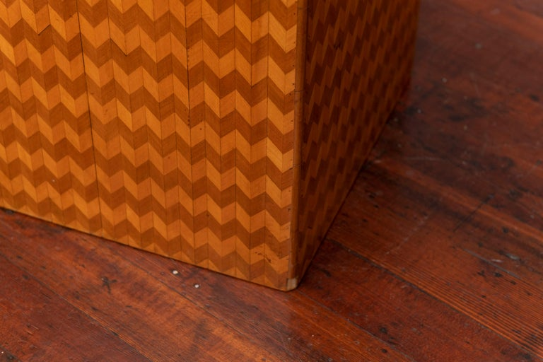Late 20th Century Parquetry Cube Form Side Table For Sale