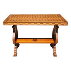 Parquetry Table with Harp/Lyre Supports