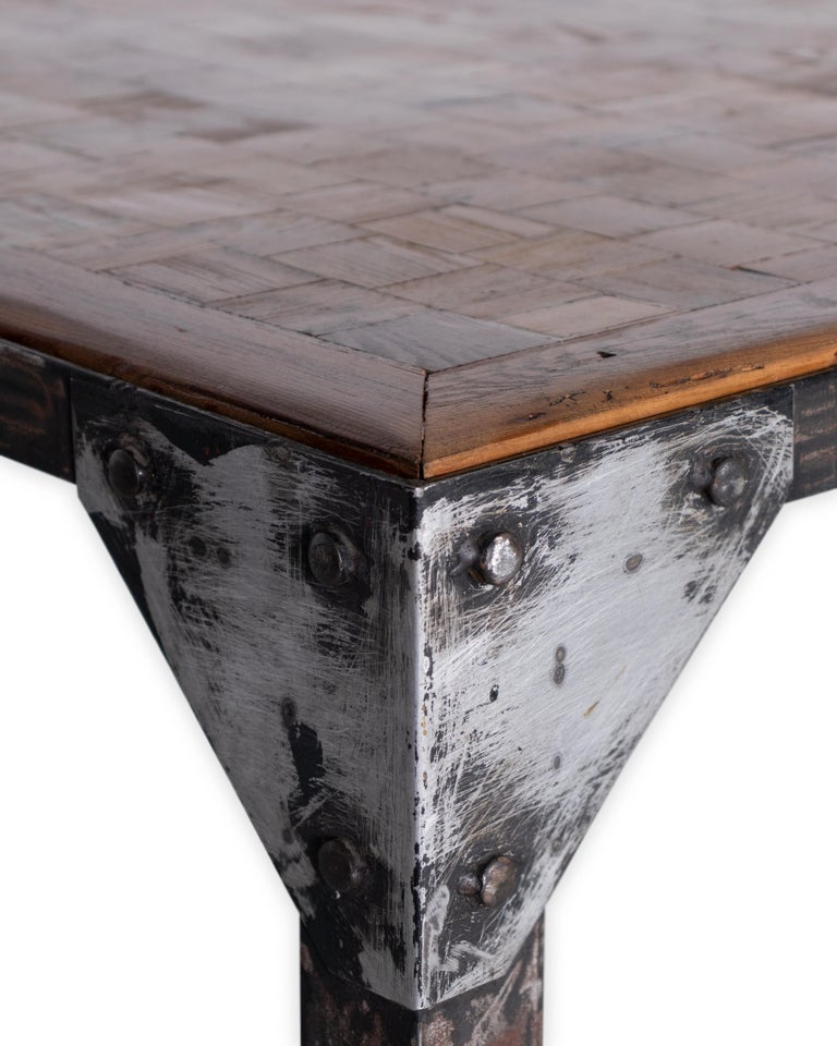 Parquetry Top Iron Base Coffee Table In Good Condition For Sale In Dallas, TX