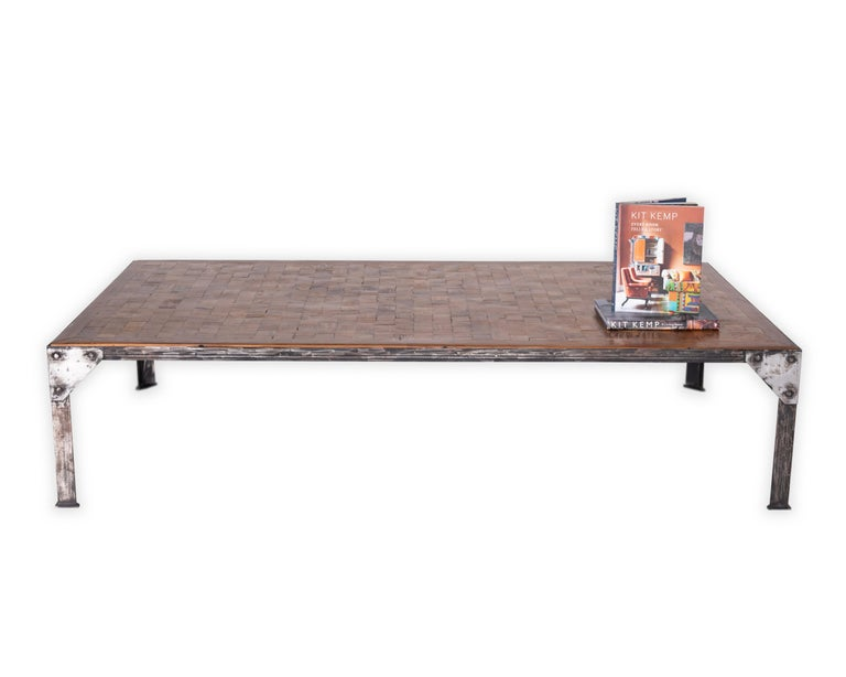 Contemporary Parquetry Top Iron Base Coffee Table For Sale