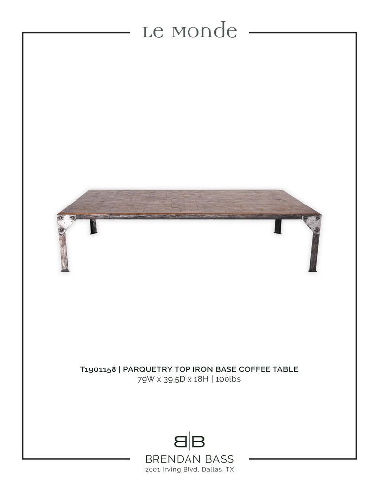 Wood Parquetry Top Iron Base Coffee Table For Sale