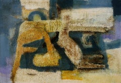 Beachside Accommodations - Abstract-Figurative Oil Painting with Blue and Yellow
