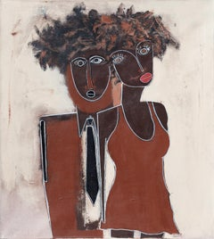 His and Her's - Expressionist Figurative Painting of an African American Couple