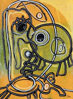 I Swallowed a Gold Fish - Surrealist Figurative Painting with Yellow and Green