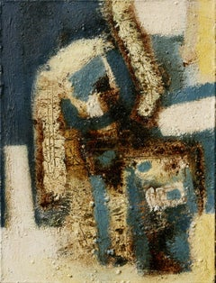 In My Arms - Abstract Versus Figurative Oil Painting with Blue and Rust Colors