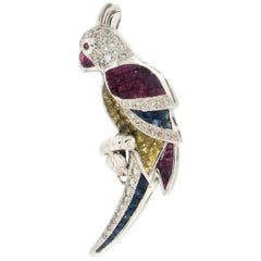 Parrot 18 karat White Gold Diamonds and Colored Stones Brooch