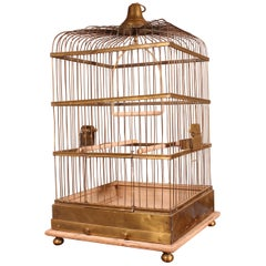 Parrot Cage in Brass and Wood from 19th Century, France