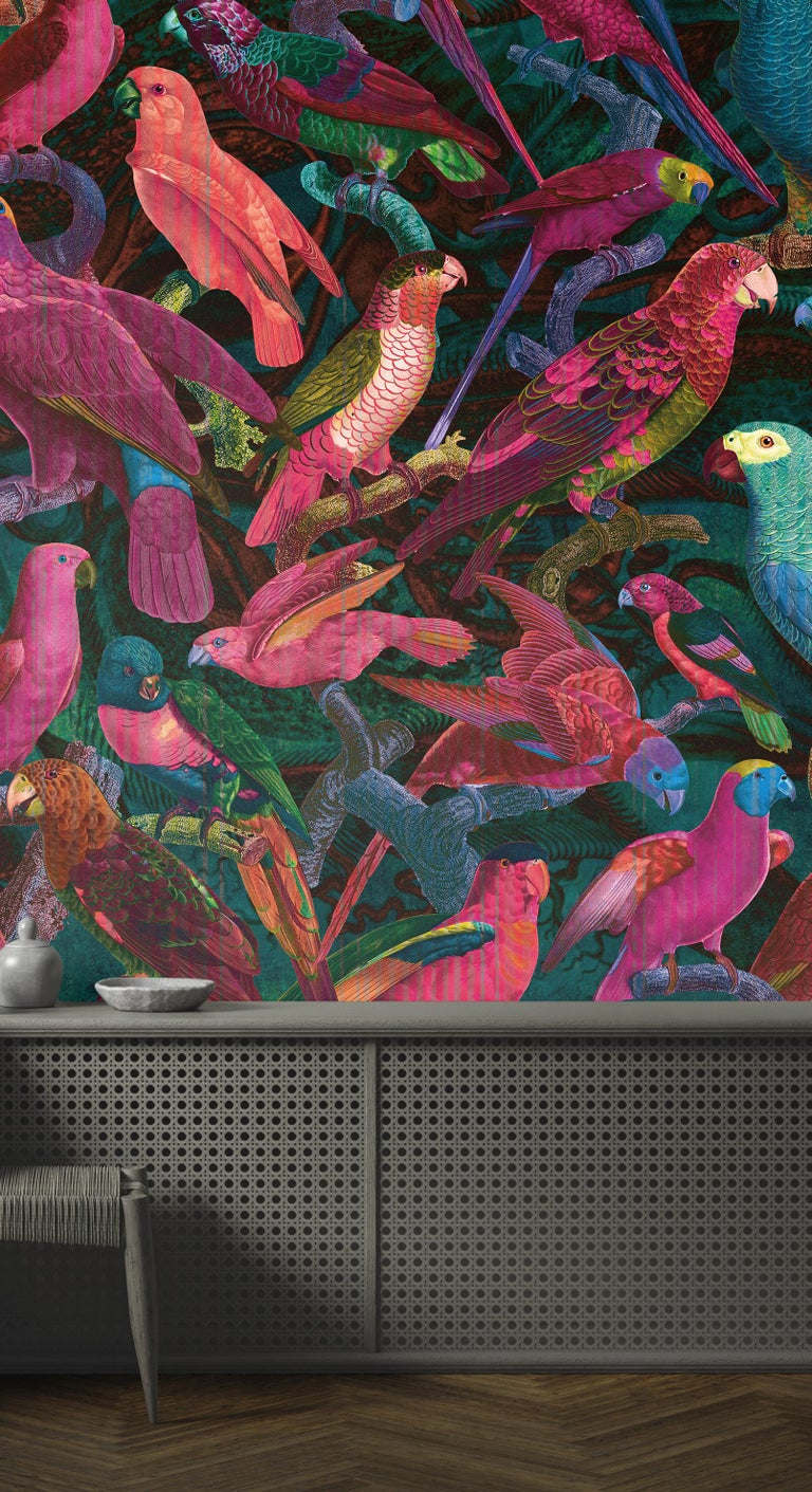 French Parrot Imperialis - custom mural wallpaper (fuchsia and blue) For Sale