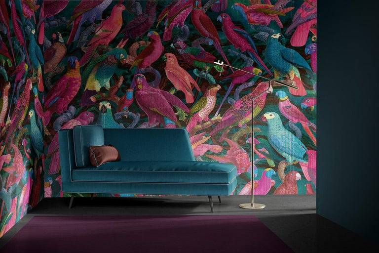 Available in custom.  On this tropical fresco, hundreds of multicolored parrots are perched on branches and seem to parade, offering their shimmering plumage to the gazes. Each of the birds is minutely represented, giving the whole a very original