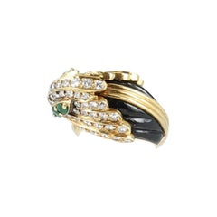 Parrot Ring with Diamonds, Onyx, Emeralds and Coral Set in 18 Karat Yellow Gold