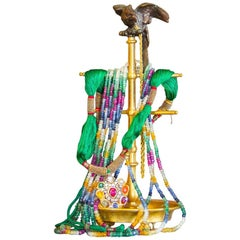 Parrot Topped Brass Jewelry Stand, circa 1860
