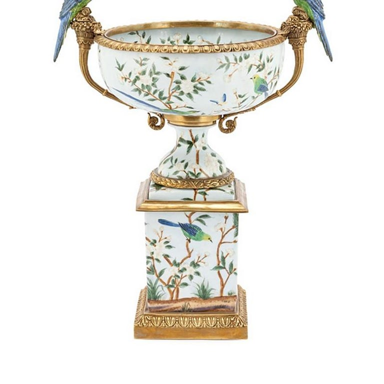 Italian Parrots and Flowers Bowl or Cup in Porcelain and Bronze Finish For Sale