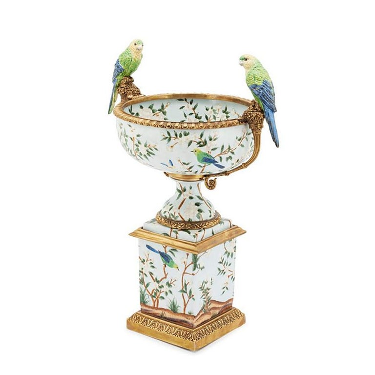 Hand-Crafted Parrots and Flowers Bowl or Cup in Porcelain and Bronze Finish For Sale