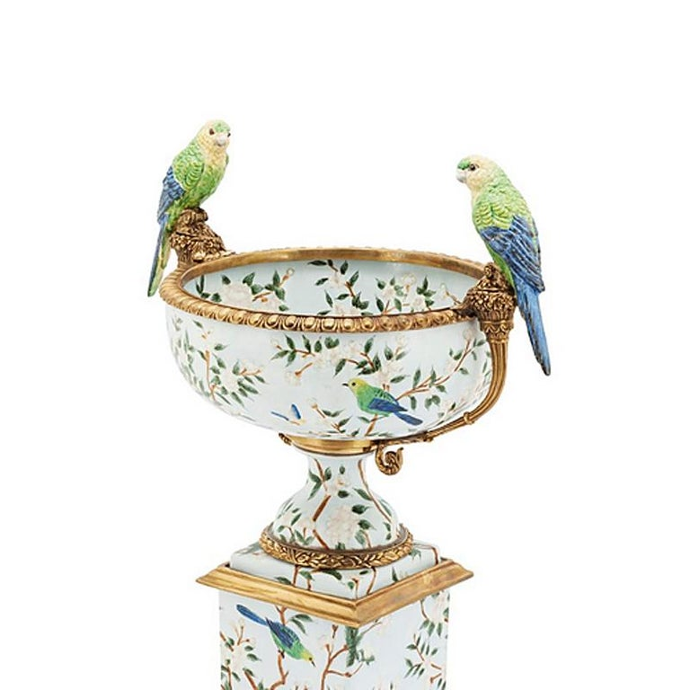 Parrots and Flowers Bowl or Cup in Porcelain and Bronze Finish In New Condition For Sale In Paris, FR