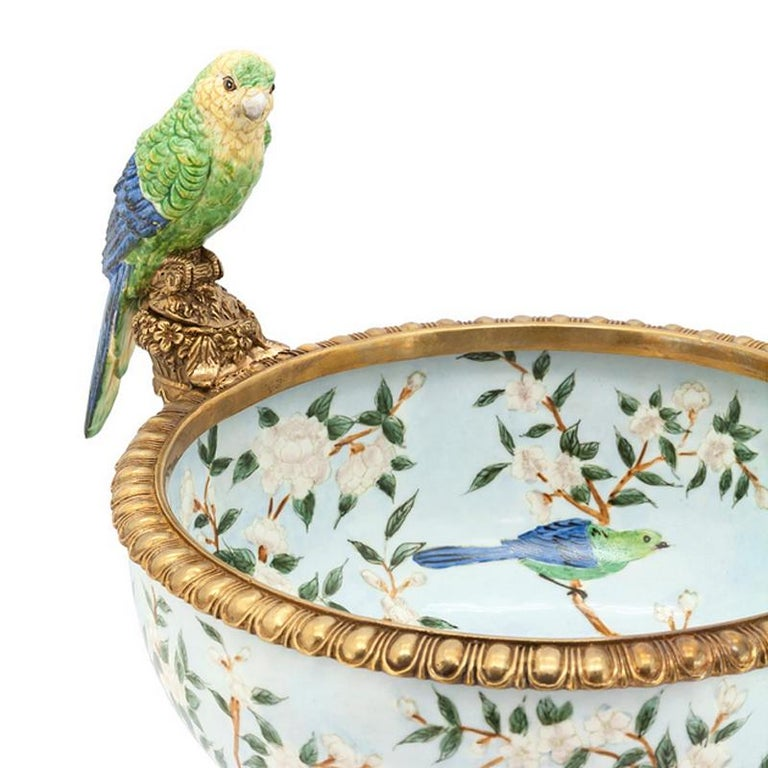 Contemporary Parrots and Flowers Bowl or Cup in Porcelain and Bronze Finish For Sale